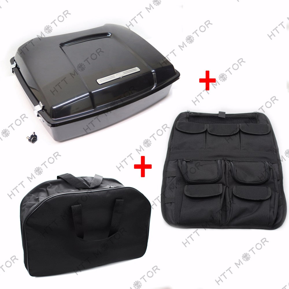 HTTMT- Tour Pak Pack Trunk & Lid Organizer & Liner Bag For Harley Touring 97-08 Unpaint