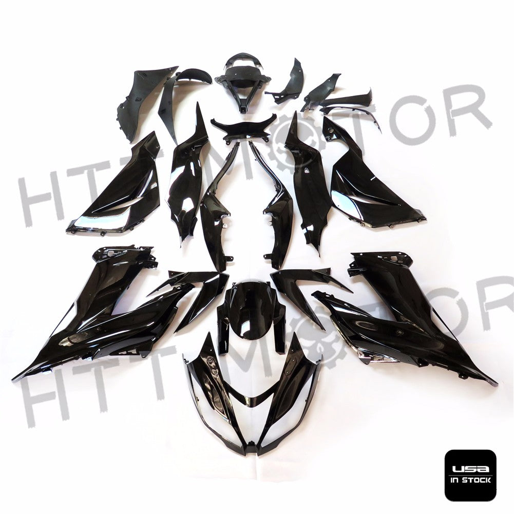US STOCK INJECTION FAIRING KIT FOR KAWASAKI 2013-2017 ZX-6R ZX 636 GLOSSY BLACK