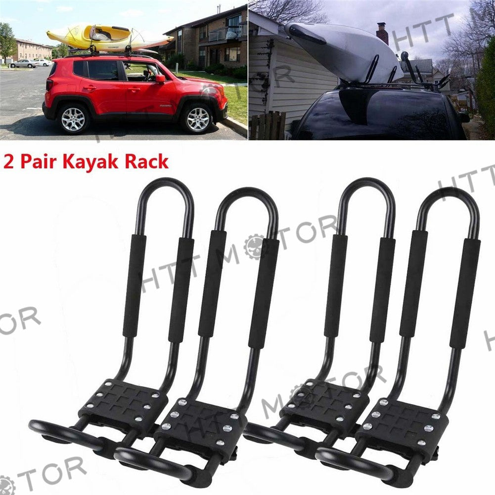 HTTMT- 2 Pairs Kayak Carrier Boat SUV Canoe Surf Ski Snowboard Roof Mount J-Bar Rack