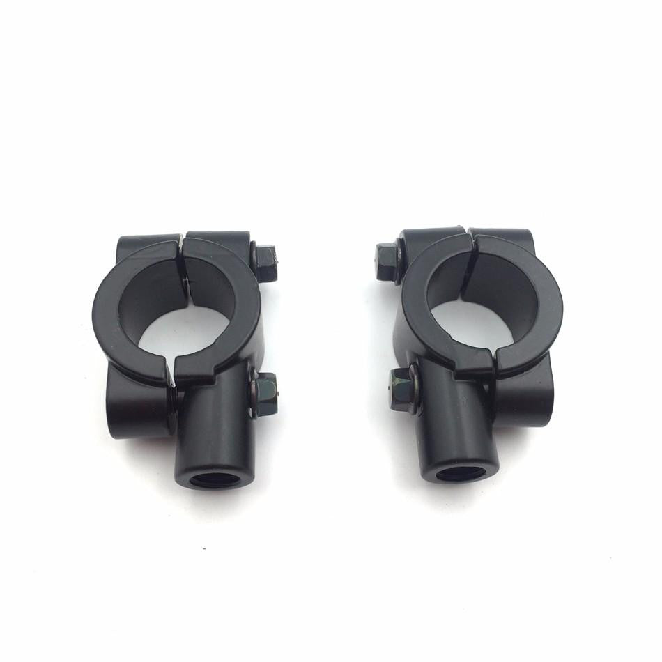 "HTT Motorcycle Black 10mm 7/8"" 22mm Aluminum Handlebar Mirrors Mount Clamp 1 set (Left Right) For ATVs or any dual sport applications Kawasaki Honda Suzuki Yamaha Harley"