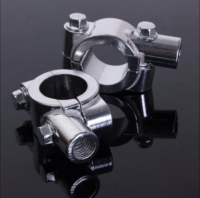 "HTT Chrome 7/8"" 22mm Motorcycle HandleBar 10mm Mirror Thread Mount Holder Clamp Adaptor"