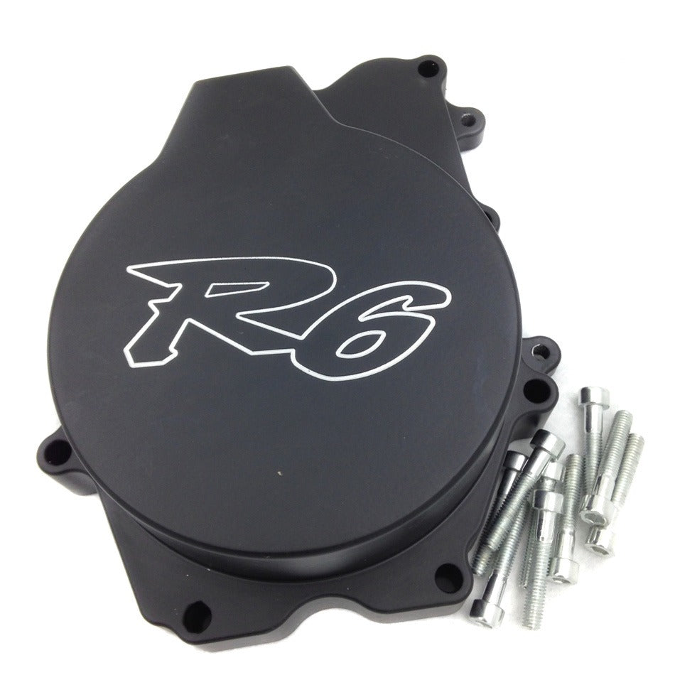 "HTT- Engine Stator Cover ""R6"" Logo For 2003-2006 Yamaha YZF-R6 / 2006 Yamaha YZF-R6S Black Left"