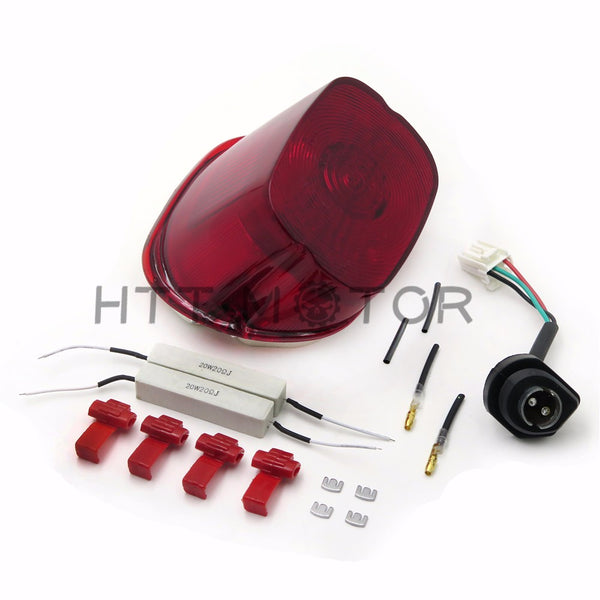 HTTMT- Red LED Tail Light Brake Turn Signal For Harley Sportster Softail Dyna Electra