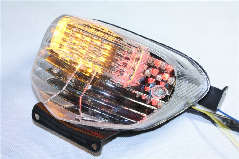 HTT Motorcycle Clear Led Tail Light Brake Light with Integrated Turn Signals Indicators For Suzuki 2001-2003 GSX-R600/ 2000-2003 Suzuki GSX-R750/ 2001-2002 Suzuki GSXR 1000