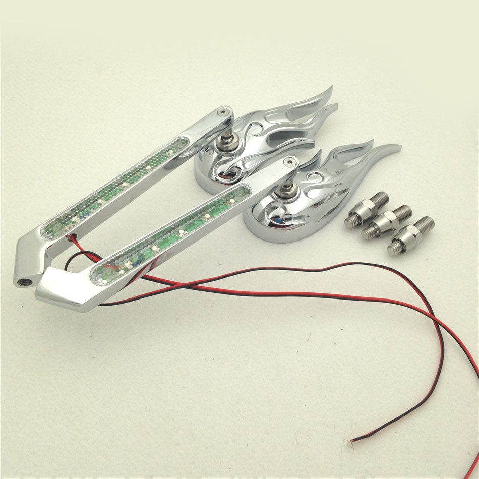 HTT Motorcycle Custom Chromed Flame Shape LED Turn Signal Integrate Mirrors For All Honda Kawasaki Suzuki Cruiser Bikes