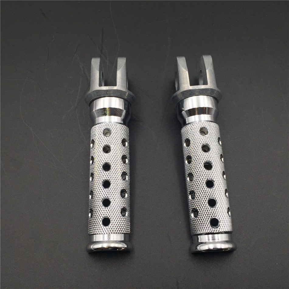 HTT Motorcycle Silver Polished Front Foot Pegs For Kawasaki EX250 EX500 Ninja ZX6 D/E/R ZX750 Ninja 1990 1991 1992 1993 1994 1995 1996 1997 1998