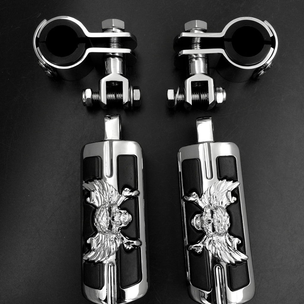 "Wing Skull Zombie 1"" 1-1/4"" Highway Stiletto 4475 Foot Pegs Clamps For Honda GoldWing GL1800 1500 1100 1200 Chrome Body Black Rubber"