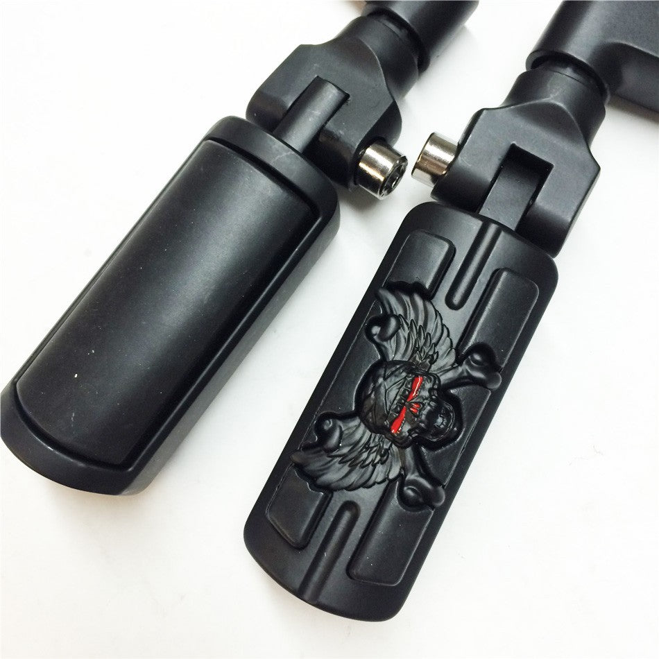 "HTT Wing Skull Zombie Shape Front Rider 1"" Stiletto 4475 Foot Peg Clamps For Honda Shadow ACE Magna Valkyrie Black Body Black Rubber"