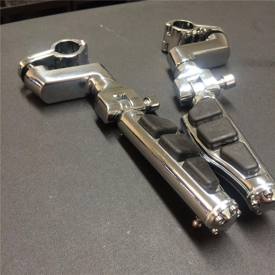 "1"" ENGINE GUARDS Stiletto 4475 Foot Pegs Clamps For Harley Sportster Touring Chrome Body Black Rubber"