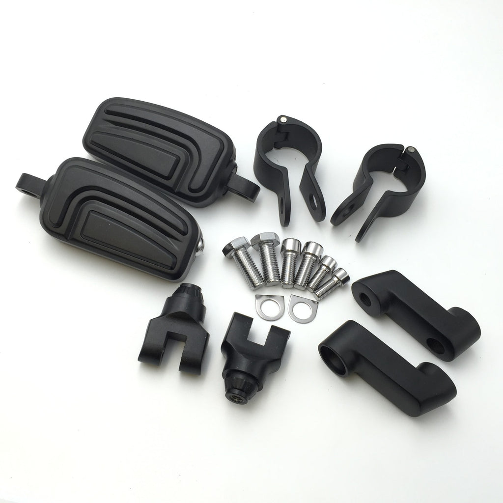 "HTT Motorcycle Black Highway AirFlow Foot Rest Foot Pegs with 1 "" 1 inch Mounting Bracket For Honda GL1800 GL1500 GL1100 GL1200 VT750 Shadow VT750C ACE VT1100 VTX1300 1800"