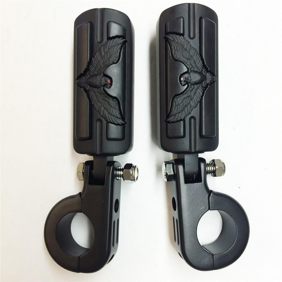 "HTT Eagle Hawk Shape Front 1 1/4"" Highway Stiletto 4475 Foot Pegs P-Clamps For Honda GoldWing GL Black Body Black Rubber"
