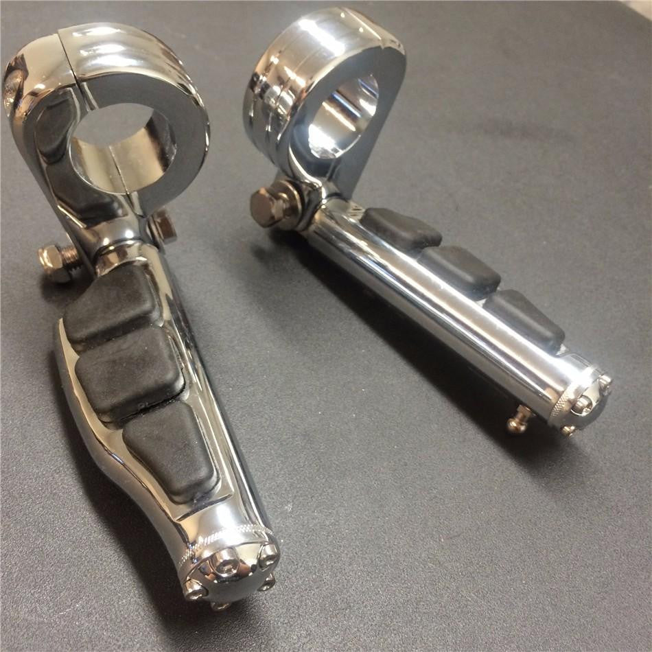 "1 1/2"" Highway Stiletto 4475 Foot Pegs P-Clamps For Harley Sportster Touring Chrome Body Black Rubber"