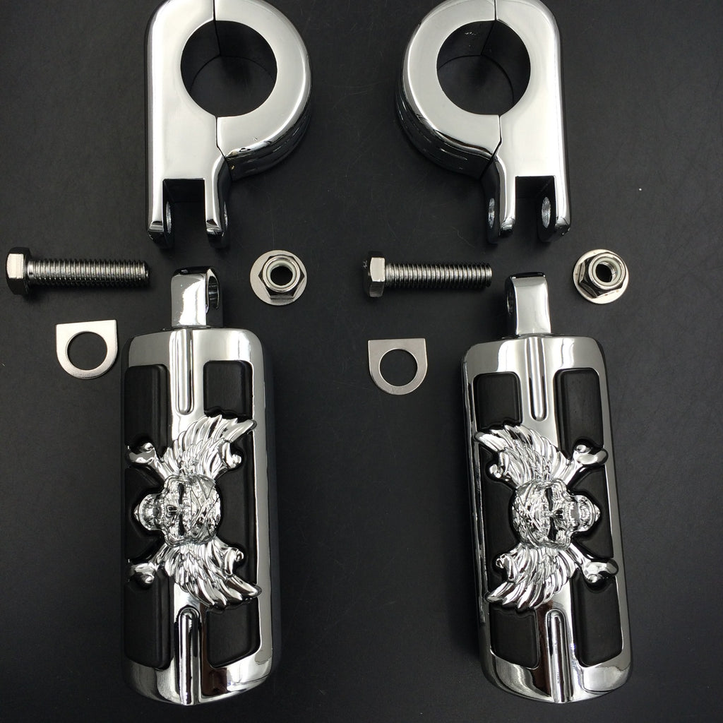 "Wing Skull Zombie Shape 1 1/4"" Highway Stiletto 4475 Foot Pegs P-Clamps For Harley Sportster Touring Chrome Body Black Rubber"