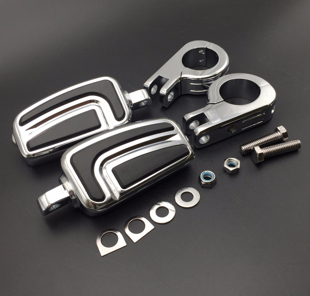"HTT Motorcycle Chrome AirFlow Arrow Foot Rest Foot Pegs with 1 1/4"" 1.25 inch Mounting Bracket For Honda GL1800 GL1500 GL1100 GL1200 VT750 Shadow VT750C ACE VT1100 VTX1300 1800"