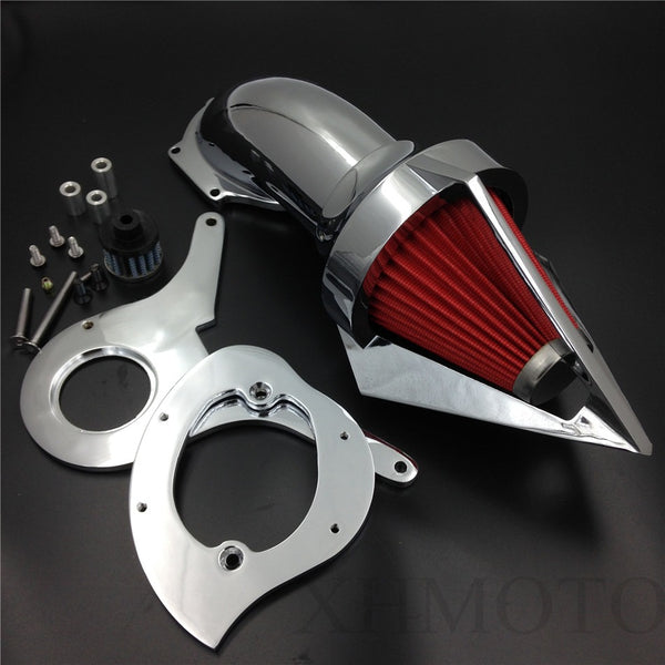 HTTMT MT225-001 Spike Air Cleaner Kits Filter Compatible with Honda Aero 750 Vt750 Intake 1986-2012 Chrome