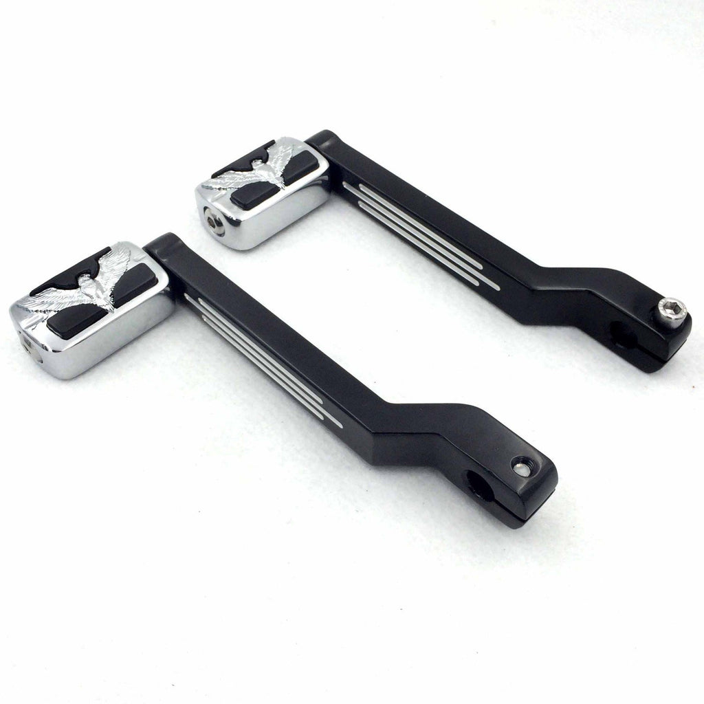 Motorcycle Black Aluminum Hollowed-out Heel//Toe Shift Levers with Chrome Zombie Shifter Pegs Compatible with Harley Davidson Electra Glide 1988 and later HTTMT MT268009A