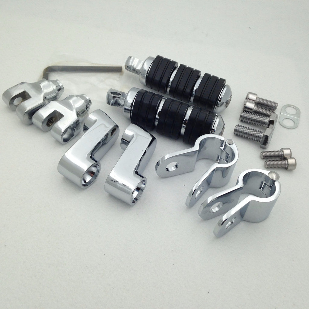 "HTT Motorcycle Chrome Footrest Foot Pegs with 1 1/4""Clamps For Honda GoldWing GL1800 GL1100 VT750 Shadow VT750C VT1100 VTX1300 Magna VF750 VF1100 VLX600 DLX600 Shadow VT600 Steed 400 Valkyrie"