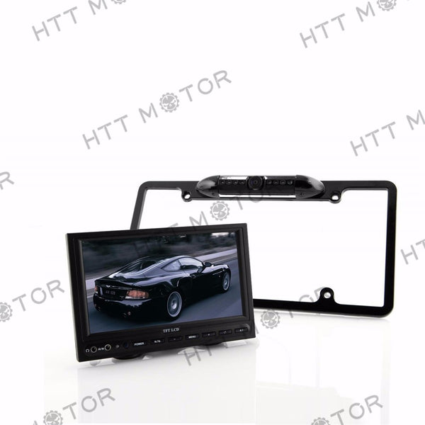 HTTMT- US License Plate Frame Mount Waterproof Night Vision Car Rear View Backup Camera