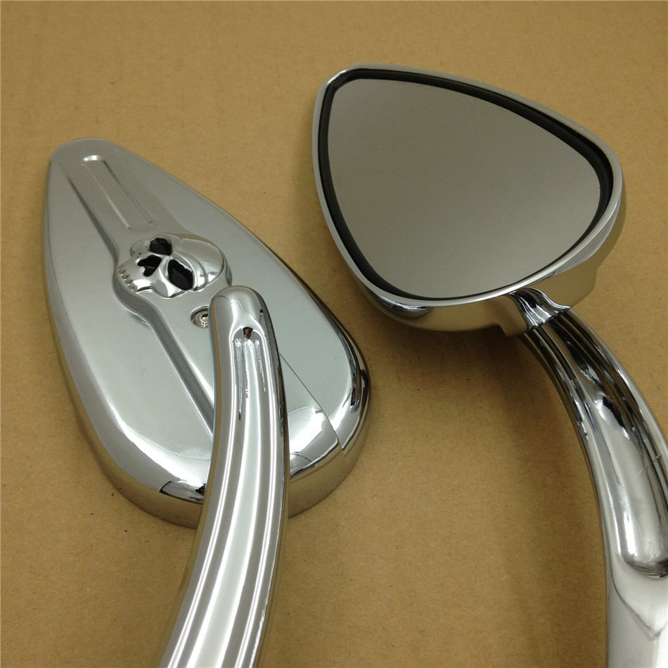 Skull Flame Side Mirrors for 1984-2014 universal to Road Glide EFI FLTRI most Harley bike chrome