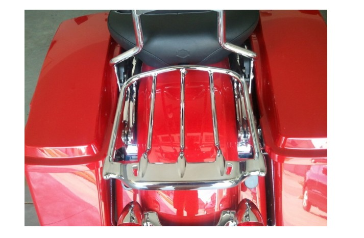 HTT Motorcycle Chrome Two-UP Air Wing Luggage Rack Mounting For Harley Davidson Touring '09-'16 Street Glide FLHX Road King FLHR Electra Glide FLHT Road Glide FLTR