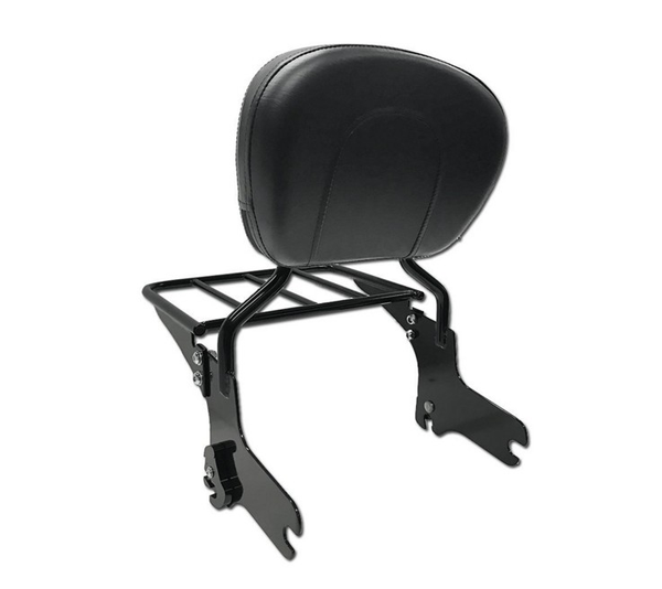 HTT Black Detachable Backrest Sissy Bar with Luggage Rack for 1997-2008 Harley Touring Electra Glide Road Glide Road King Street Glide