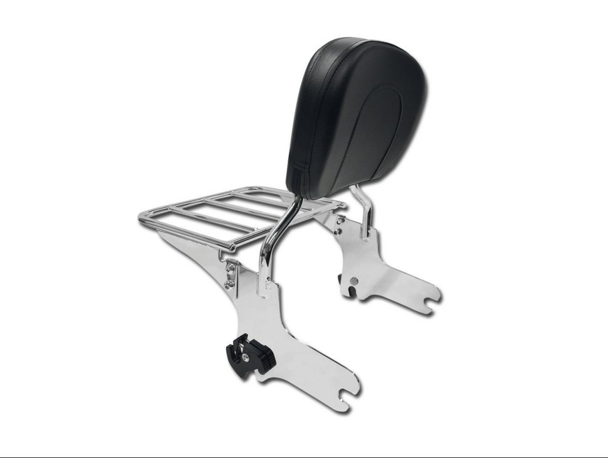 HTT Chrome Detachable Backrest Sissy Bar with Luggage Rack for 1997-2008 Harley Touring Electra Glide Road Glide Road King Street Glide