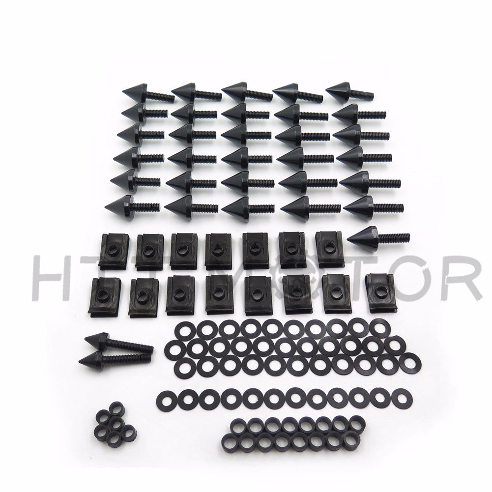 HTTMT Black Motorcycle Spike Fairing Bolts Kit For 2002 2003 Yamaha Yzf R1 Yzf-R1