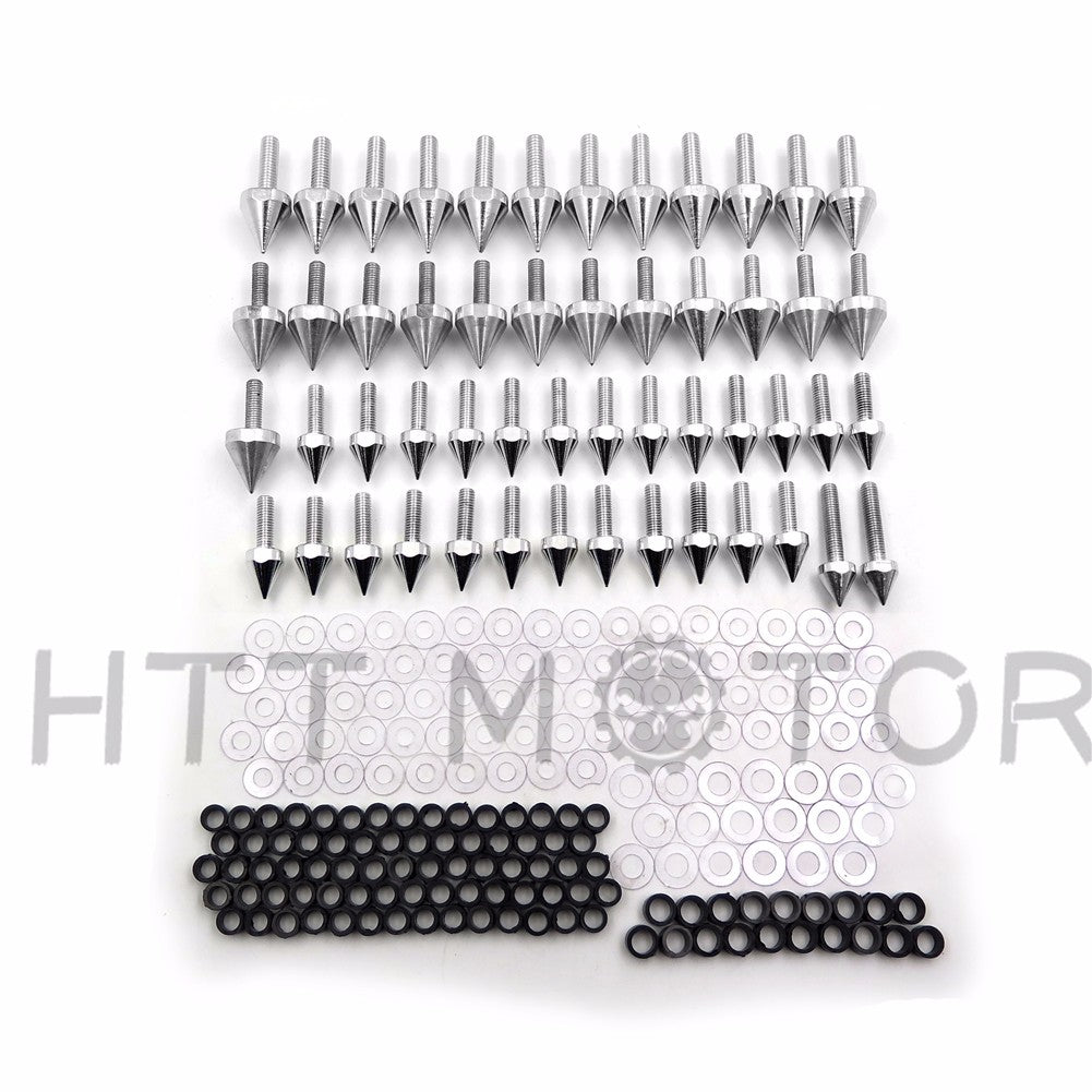 HTTMT Silver Motorcycle Spike Normal Fairing Bolts For 1999 2000 2001 2002 Yamaha Yzf R6 Yzf-R6 Yzfr6