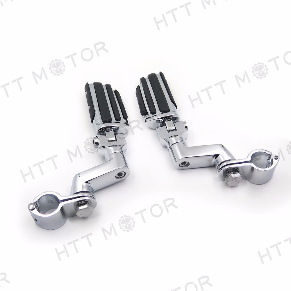 "Highway Radical Flame Foot Pegs Clamps 1"" For Harley Sportster 883 1340 XL1200"