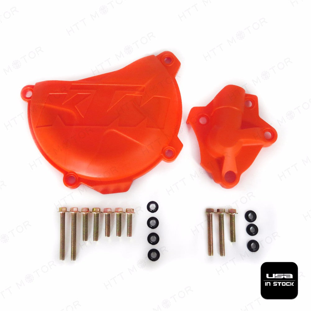 Orange Clutch Cover Protection W/ Water Pump Protector For KTM 250 EXC-F 2014-16