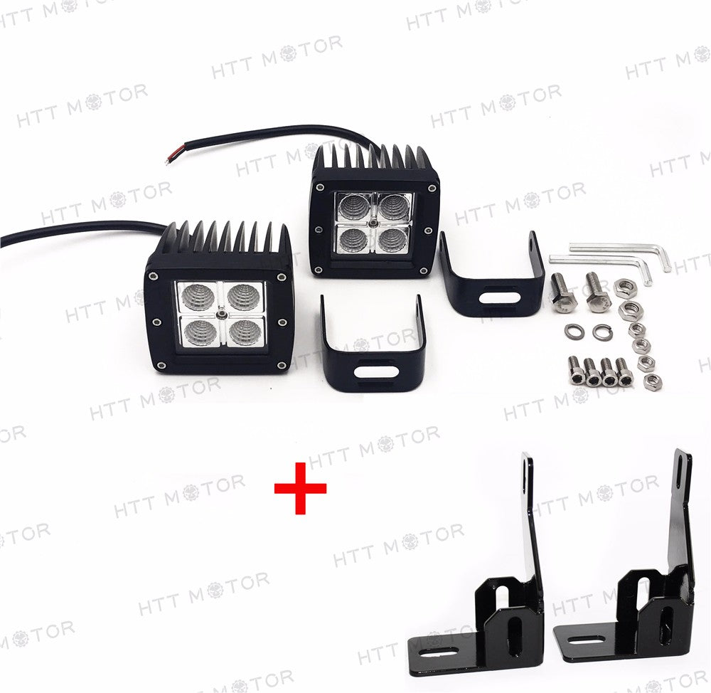 HTTMT- 2x Cree Led Fog Lamps w/ Mounting Brackets For 99-16 Ford F-250 F-350 F-450 Duty