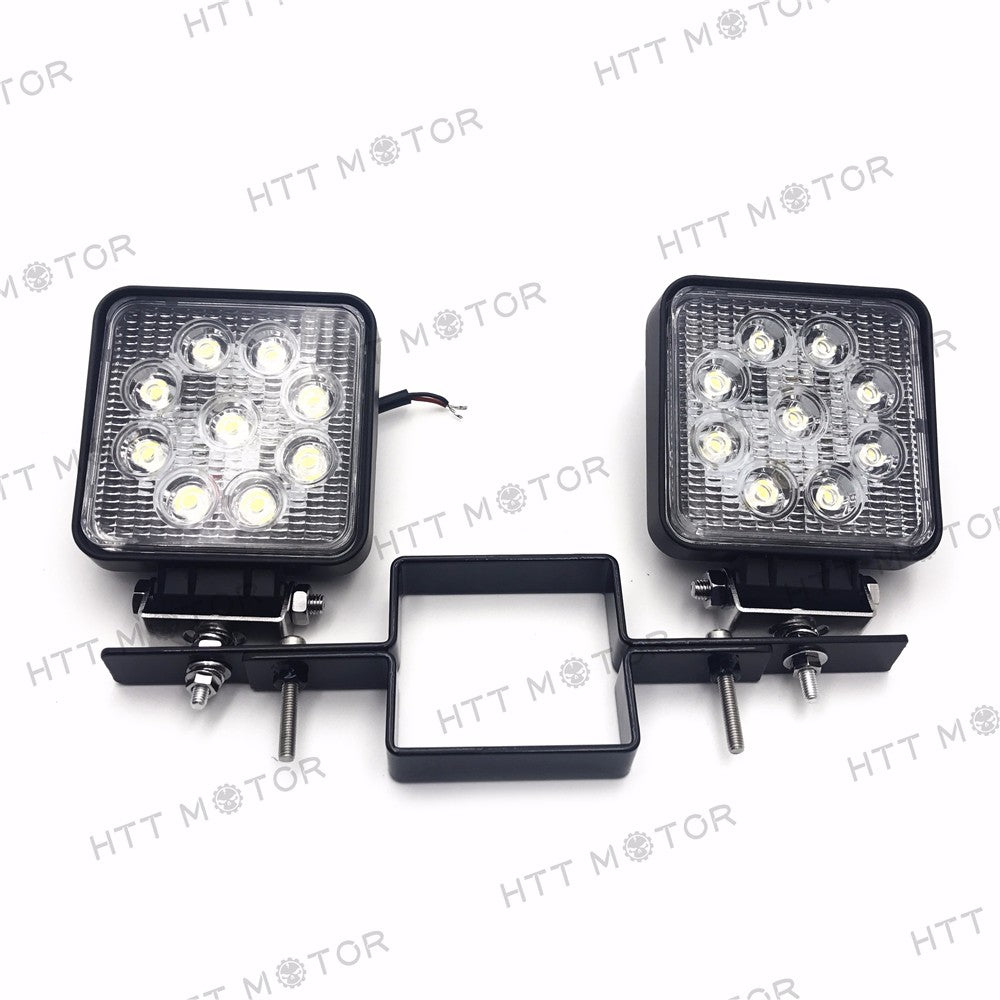 HTTMT- Square 27W Off-Road LED Work Lamp w/ tow hitch bracket For Truck SUV Trailer RV