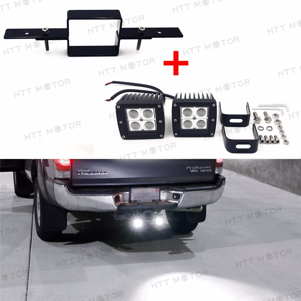 HTTMT- 12W Cree LED Light/Off-Road Work Lamp w/ hitch brackets For Truck SUV Trailer RV