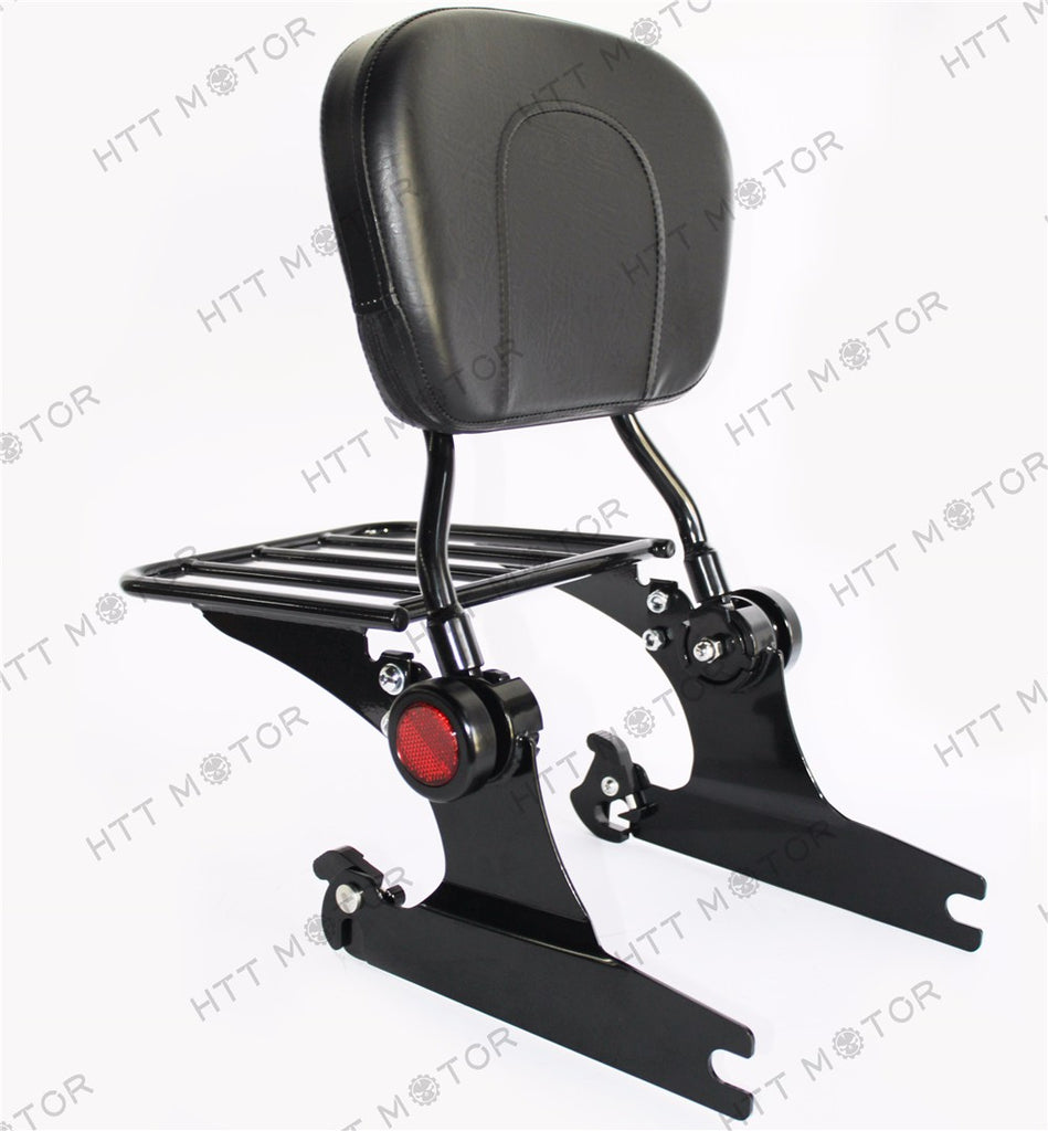 HTTMT- Detachable Backrest Sissy Bar Luggage rack For Harley Softail 200mm 06 UP Black
