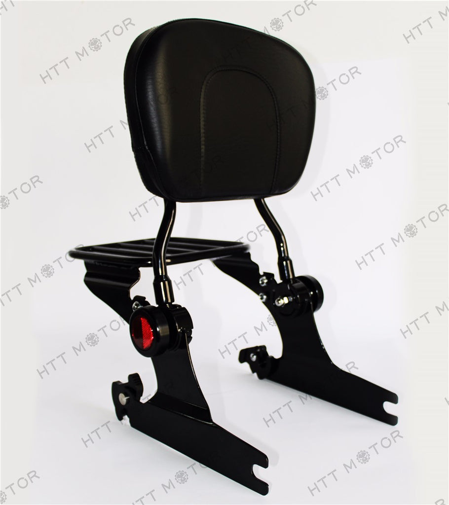 HTTMT- Adjustable Detachable Backrest Sissy Bar W/ Luggage Rack for HD Softail 00-06 BK
