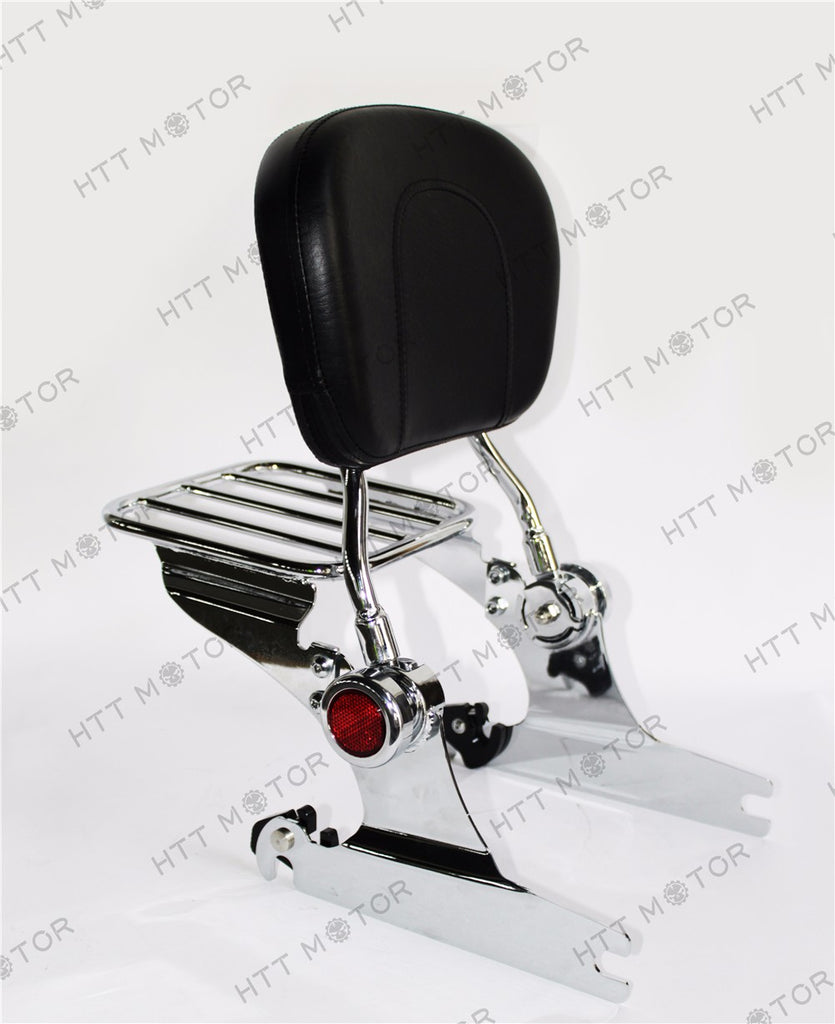 HTTMT- Adjustable Detachable Backrest Sissy Bar W/ Luggage Rack for HD Softail 00-06 CR