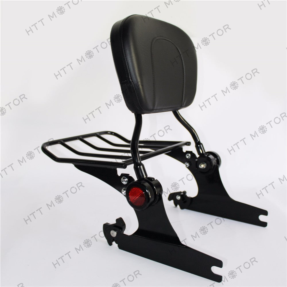 HTTMT- Backrest Sissy Bar Luggage Rack Harley Davidson Softail Deluxe 2005 UP Black