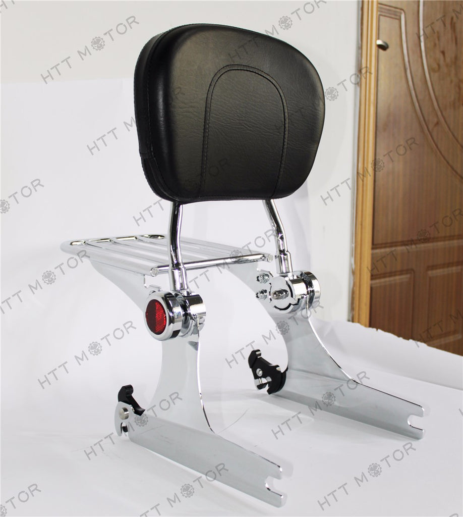 HTTMT- Adjustable Detachable Backrest Sissy Bar Luggage rack For Harley Dyna 02-05 Chrome