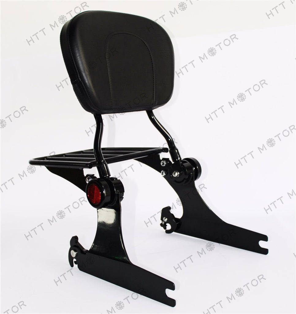 HTTMT- Adjustable Detachable Backrest Sissy Bar Luggage Rack For Harley Dyna 06up Black