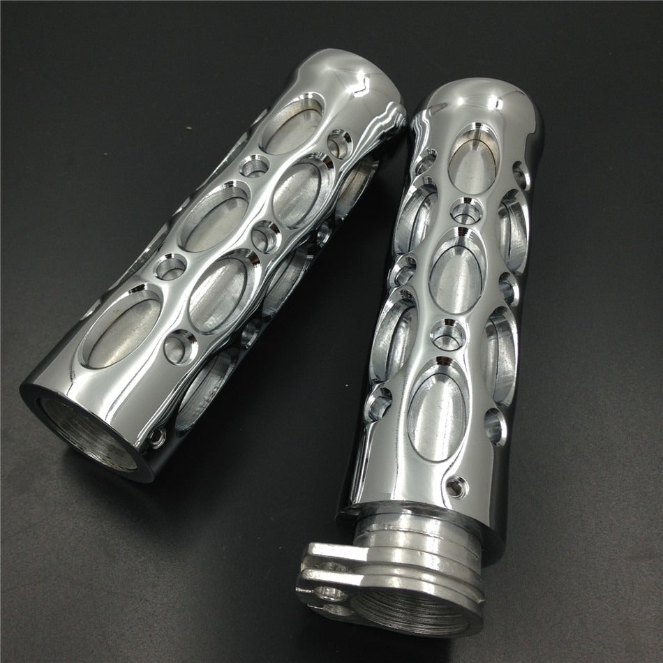 "HTT- Chrome Motorcycle Hole Hollow Shape 1"" Hand Grips For Nomad Drifter Vulcan 1600 2000/ Harley Davidson FXDL Dyna Low Rider"
