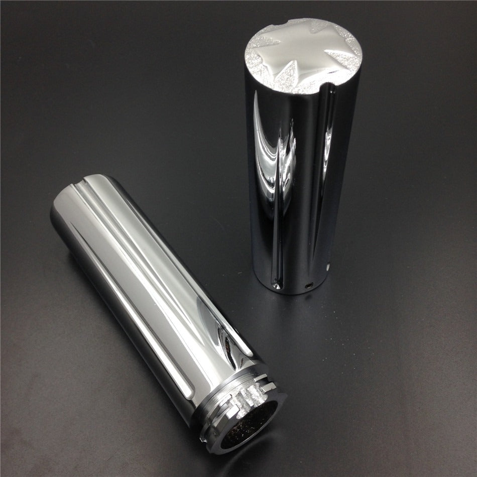"HTT- Chrome Motorcycle Cross End Style 1"" 25mm  Hand Grips For Harley Electra Glide Classic/ Suzuki Marauder 1600 800"