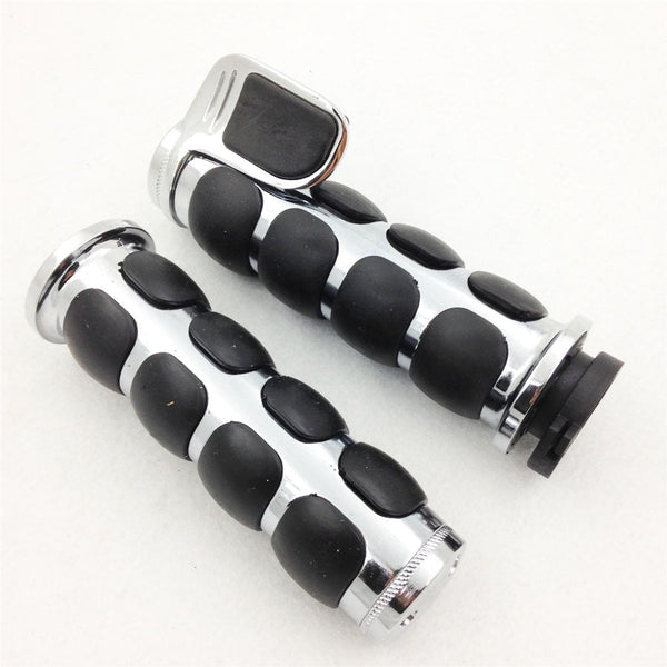"HTT- 1 Pair Motorcycle Chrome Rubber Billet Aluminum Hand Grips 1"" 25mm For Harley Davidson Softail Fat Boy FLSTF"