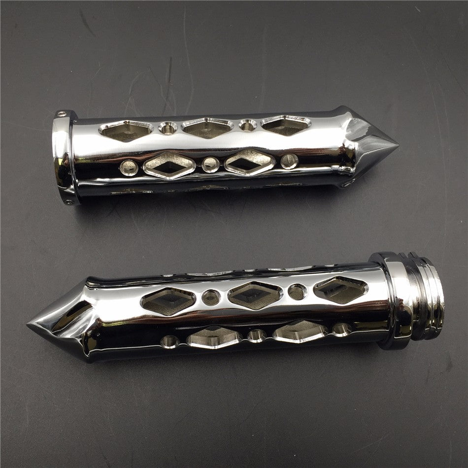 "HTT Motorcycle Chromed Hollowed-out Spike Hand Grip 1"" 25mm Bars CNC For Suzuki GSXR Honda Ninja Handlebars Sport Bike Hand Bar"