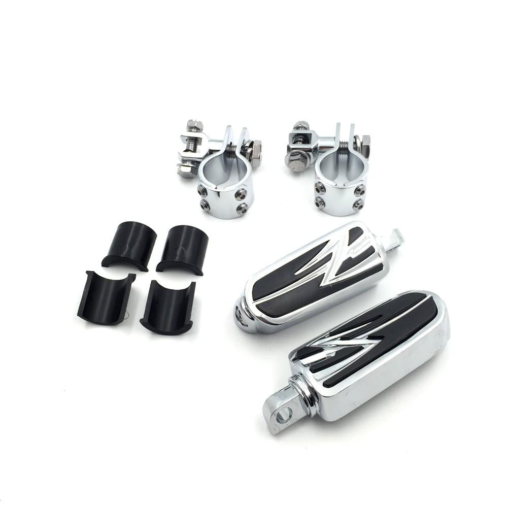 "1"" 1 1/4"" ENGINE GUARDS Flame Foot Pegs Clamps For Harley Sportster 883 1340"