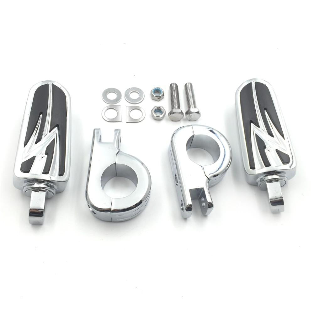 ENGINE GUARDS Flame Foot Pegs P Clamps For Harley Sportster 883 1340 XL1200