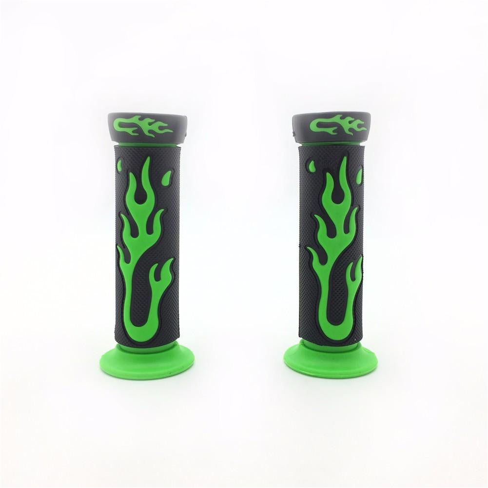 "7/8"" 22mm Flame Gel Handlebar Grips GREEN For Yamaha Honda Kawasaki Suzuki ATV KTV Scooter"