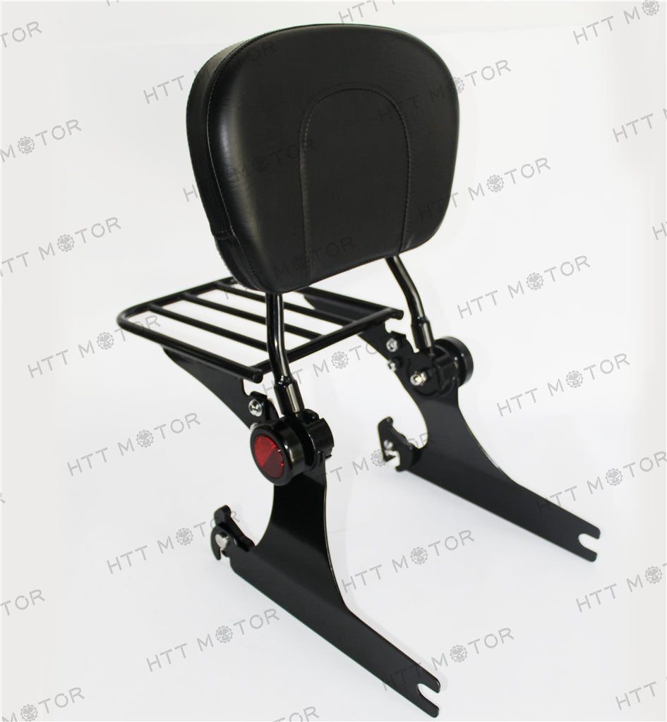 HTTMT- Adjustable Backrest Sissy Bar w/ Luggage rack For Harley Dyna 02-05 Black
