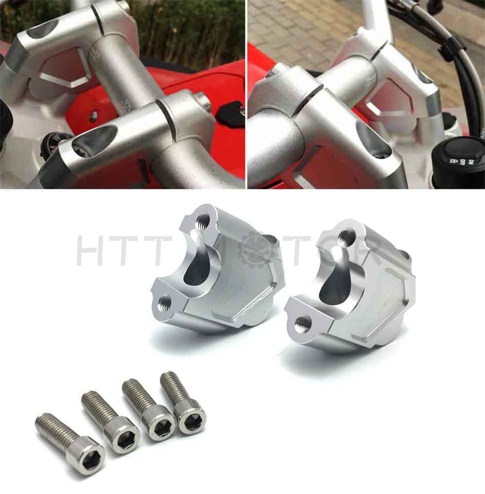 HTTMT- Motorcycle Handlebar Riser Kit Moves Bar Up For BMW F650GS F700GS 08-17 Silver