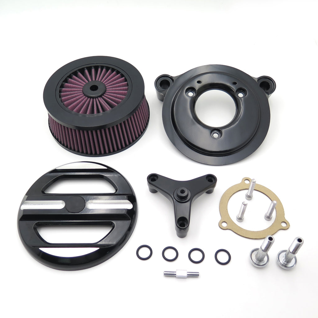 HTT Motorcycle Black Skull Grille Air Cleaner Intake Filter System Kit For 16-later FXDLS Softail 08-later Touring and Trike Fat Boy CVO Softail Deluxe Electra Glide Tri Glide