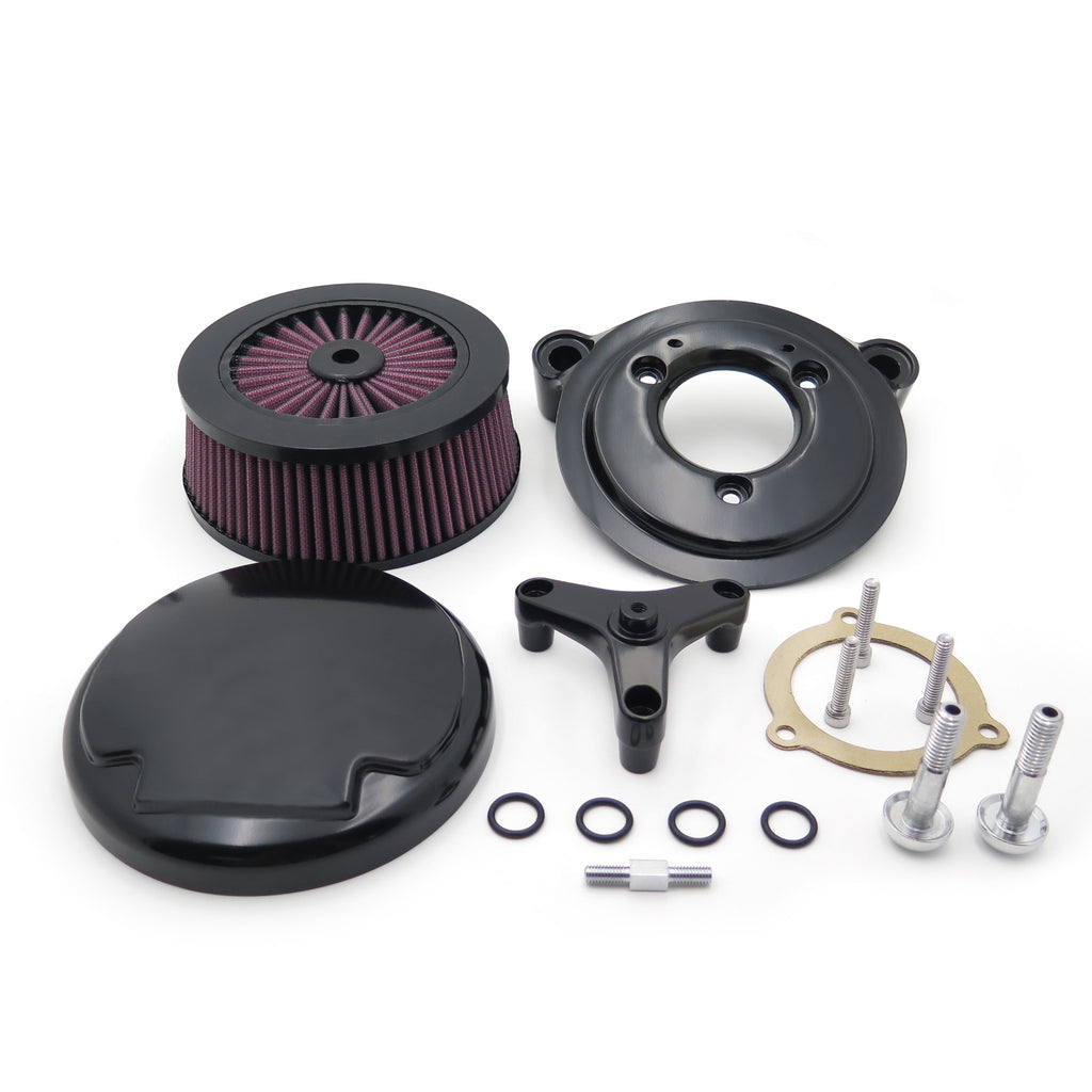 HTT Motorcycle Black Skull Chrome Eyes Agitator Extreme Billet Air Cleaner Intake Filter System Kit For 16-later FXDLS Softail 08-later Touring and Trike Fat Boy CVO Road King Electra Glide